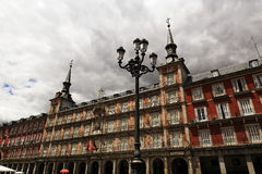 The architecture of the old buildings in Plaza Mayor, Madrid, Spain Stock Images