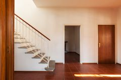 Architecture, old classic house interiors, corridor with staircase royalty free stock photo