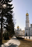 Architecture and old garden of Moscow Kremlin. Royalty Free Stock Image