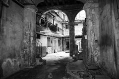 Architecture. Old Havana, Cuba Distraught buildings walking in between the streets Royalty Free Stock Photography