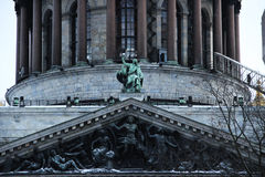 Architecture. Old house and big statues Royalty Free Stock Photo