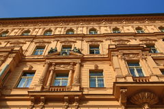 The architecture of the old houses, Old Town, Prague, Czech Republic. A Picture of the architecture of the old houses, Vinohradská Street, Prague, Czech Stock Image