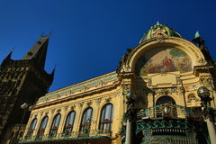 The architecture of the old houses, Repiblika Square, Prague, Czech Republic Stock Image