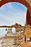 Architecture in Old nesebar in Bulgaria. Seagull in Old Nesebar town Royalty Free Stock Photography