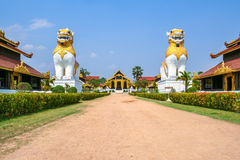 Architecture of old palace is designed in Myanmar culture style Royalty Free Stock Photography