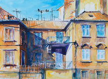 Architecture. Old architecture in Split.Picture created with watercolors Stock Image