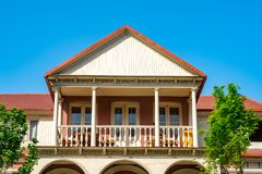 Architecture of old Tbilisi, Exterior of an old houses with wood balcony. Agmashenebeli street royalty free stock photos
