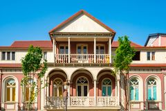 Architecture of old Tbilisi, Exterior of an old houses with wood balcony. Agmashenebeli street stock photography
