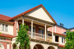 Architecture of old Tbilisi, Exterior of an old houses with wood balcony. Agmashenebeli street stock image