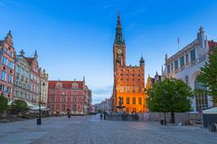 Architecture of the old town in Gdansk. With city hall at dawn, Poland Royalty Free Stock Images