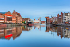Architecture of the old town in Gdansk at dusk. Poland Royalty Free Stock Photo