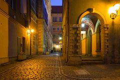 Architecture of the old town of Gdansk at night. Poland Royalty Free Stock Photography