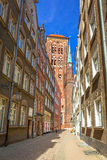 Architecture of the old town in Gdansk. With St. Mary Cathedral, Poland Stock Photography
