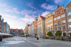 Architecture of the old town in Gdansk. At sunrise, Poland Royalty Free Stock Photos