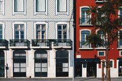 Architecture in the Old Town of Lisbon, Portugal. Lisbon Buildings Facade With Typical Portuguese Tiles. On the Wall royalty free stock photos