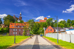 Architecture of the old town of Tczew. Sidewalk at Vistula river in Tczew, Poland Stock Photo