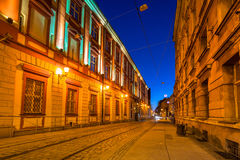 Architecture of the old town in Wroclaw at dusk Stock Image