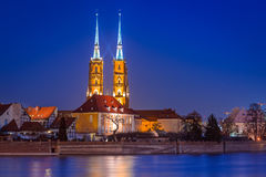 Architecture of the old town in Wroclaw at dusk Royalty Free Stock Photography