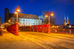 Architecture of the old town in Wroclaw at dusk Stock Photo