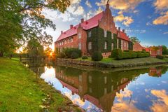 Trolle-Ljungby Castle in southern Sweden. Architecture ot the Trolle-Ljungby Castle in southern Sweden at sunset Royalty Free Stock Photos