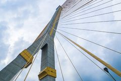 Architecture of outdoor cable bridge for transportation Stock Photo