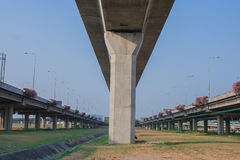 Architecture of overpass crossing the street. royalty free stock photography