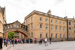 Architecture of Oxford, England, United Kingdom. OXFORD, ENGLAND  - JULY 10, 2016: Bridge of Sighs at Hertford College, Oxford, England. Oxford is known as the Royalty Free Stock Photos
