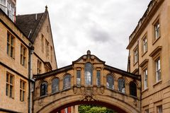 Architecture of Oxford, England, United Kingdom. OXFORD, ENGLAND - JULY 10, 2016: Bridge of Sighs at Hertford College, Oxford, England. Oxford is known as the royalty free stock photo