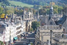 Architecture in Oxford, in the UK. Oxford is a city in the South East region of England and the county town of Oxfordshire. The city is known worldwide as the Royalty Free Stock Photography