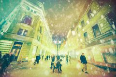 Paint on canvas- art pictorial images. Architecture paint on street in city Moscow. Abstract brush strokes on canvas- landscape urban royalty free illustration