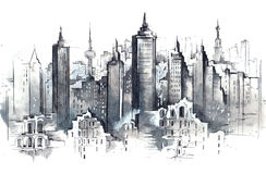 Architecture. Painting of panorama of metropolis Royalty Free Stock Photo