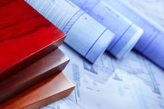 Architecture paperwork and wooden boards Royalty Free Stock Photography