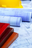 Architecture paperwork and wooden boards Stock Photography