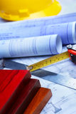 Architecture paperwork and wooden boards Royalty Free Stock Photo