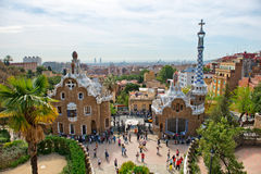 Architecture in the Parc Guell, Barcelona, Spain Royalty Free Stock Images