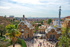 Architecture in the Parc Guell, Barcelona, Spain. Showing the pavilion house and spire at the entrance to the park and gardens designed by Antoni Gaudi Royalty Free Stock Photo