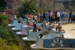 Architecture of Park Güell, on March 08, 2013 in Barcelona, Spain Royalty Free Stock Photo