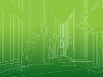 Architecture perspective line work background Stock Image