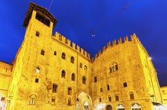 Architecture of Piazza Maggiore in Bologna Royalty Free Stock Photos