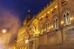 Architecture of Piazza Maggiore in Bologna Stock Photography