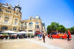 Architecture of Place de la Comedie the main tourist spot of Montpellier, France Royalty Free Stock Image
