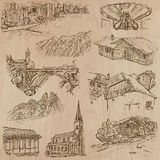 Architecture and places around the world - freehand drawings Stock Image