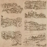 Architecture and places around the world - freehand drawings Royalty Free Stock Photography