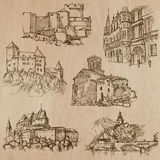 Architecture and places around the world - freehand drawings Stock Images