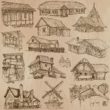 Architecture and places around the world - freehand drawings Stock Photography