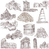 Architecture and places 2. Collections of hand drawn illustrations isolated on white - Famous places, buildings and architecture around the world Stock Images