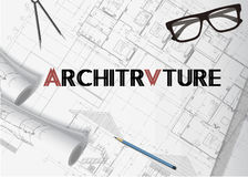 Architecture plan background. Banner vector with isolated elements stock illustration