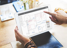 Architecture Plan Blueprint Layout Work Concept Royalty Free Stock Photo