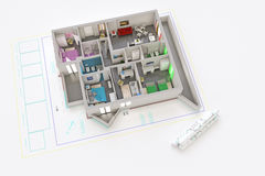 Architecture plan. 3d illustration of a modern and furnished apartment extruded from an architecture plan royalty free illustration