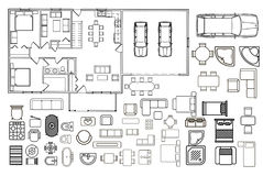 Architecture plan with furniture in top view Royalty Free Stock Photo